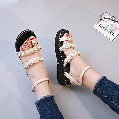 RUGAI-UE Estate Moda Donna Sandali Casual PU scarpe tacchi comfort,Black,US8 / EU39 / UK6 / CN39 Beige