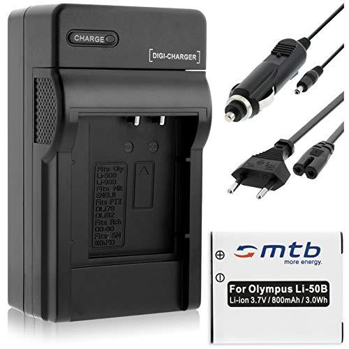 Batteria + Caricabatteria (Auto/Corrente) per Olympus Li-50B / XZ-10. / Pentax WG-3 / Ricoh CX5 vedi lista!