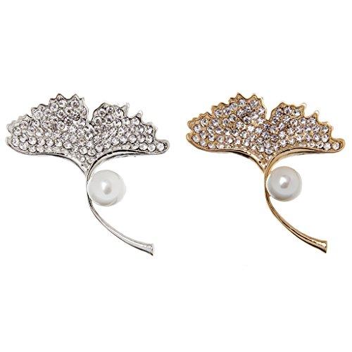 Elégant Broce de Gingko Feuilles en Strass Cristal et Perle Artificielle Femme Broche Or