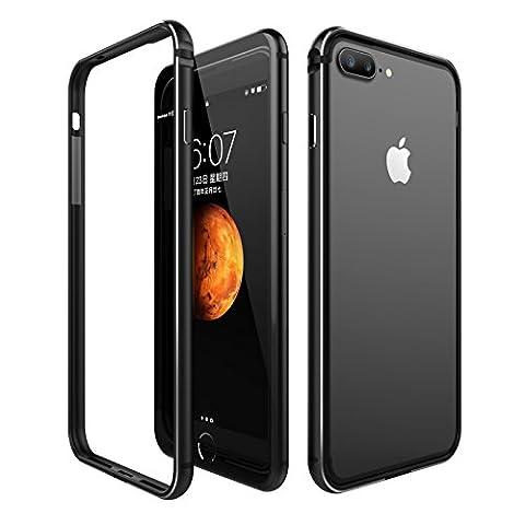 iPhone 7 Plus Hülle, ROYBENS Anti-Kratzer Aluminium Metal Rahmen Stoßanfänger, [Stoß-Absorbierend] [Signal verlustfrei] TPU für iPhone 7 Plus (5.5 Zoll), Schwarz