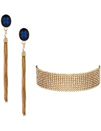Bellofox Rose Gold Plated Blue Tassel Earring & Rhinestone Choker Necklace For Women & Girls / Super Saver Combo...