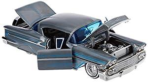 Dickie Toys 253745000 1958 Chevy Impala-Hard Top, Wave 1, vehículo Die-Cast, con Rueda Libre, Jada Toys 20 años de Aniversario, Plata de Metal Cepillado