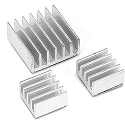 Aukru - Disipador de calor para Raspberry Pi (aluminio, 3 unidades), color plateado