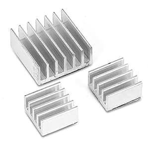 Aukru 3x Raffreddamento Alluminio Dissipatore Dissipatori per Raspberry Pi 3 Model B/ Pi 2 modello B / Pi B+ VGA RAM Memoria Cooler