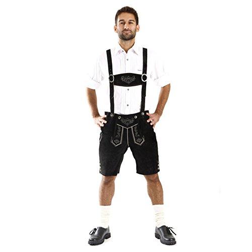 ALMBOCK Lederhose kurz schwarz | Trachten Lederhosen Herren kurz aus geschmeidigem Rinds-Veloursleder | Trachten Lederhose kurz - Lederhosen kurz 50