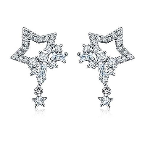 TIZIKJ S925 Sterling Silber Ohrringe Fünf-Spitz Stern Quaste Wasser Tröpfchen Zircon Verhindern Allergie Diamant Ohrringe , 925 silver