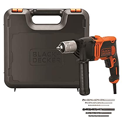BLACK+DECKER BEH850K Taladro Percutor con Cable 850W, Portabrocas 13Mm, incluye 6 brocas y maletín