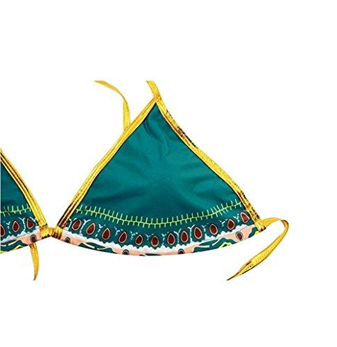 Triangel Bikini Push Up Sexy Gepolstert Abnehmbar - Damen Zweiteiler Bikini Set mit Bikini Oberteil und Hoher Taille Dreieck Bikinihose Blumendruck - Bademode Strand Gebunden, S/3XL + Fußkettchen Orange
