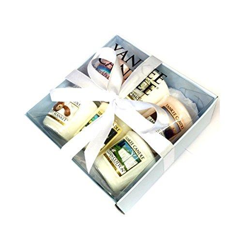 Coffret de 6 Bougies parfumées colorées Yankee Candle - Cadeau emballé avec ruban de satin blanc