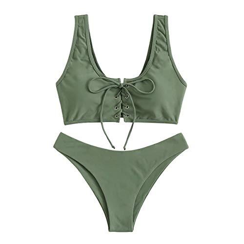 SOLY HUX Damen Bikini Set Einfarbig Oberteil U-Ausschnitt Sommer Strand Badenanzug Grün S