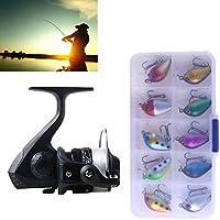 Al aire libre Juego de ruedas giratorias de pesca Rueda 3BB Rodamientos de bolas Asiento de pesca Carrete con 40 m Líneas de pesca y 10 PCS cebos de pesca, SetJL200 Box0149 Interesante