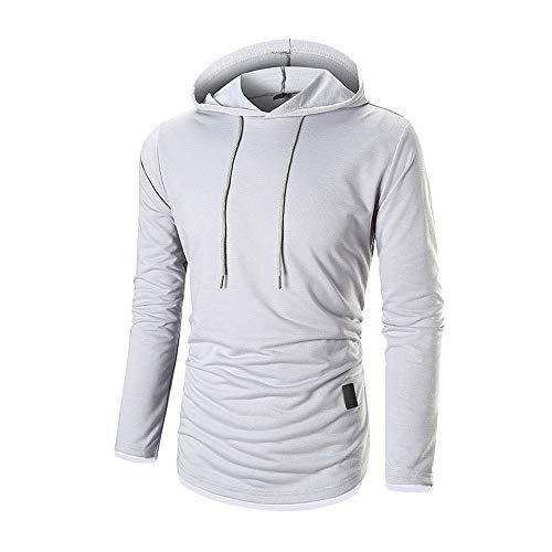 ESAILQ Herren Herbst Langarm-Kapuzenshirt Kapuzenpulli Top T-Shirt Outwear Bluse(Medium,Weiß)