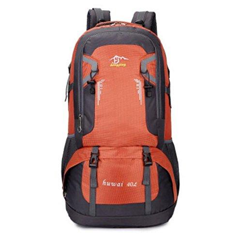 LQABW Große Kapazität Wasserdichter Multifunktionsbergsteigen Beutel Größe Nylon Durable Wandern Camping Rucksack Tasche Orange