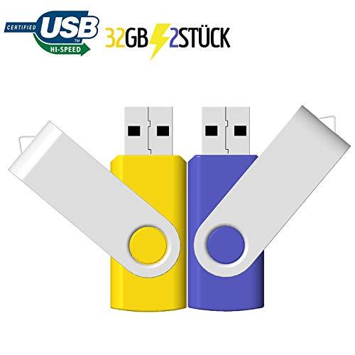 32GB USB Stick 2 Stück JBOS Flash Speicherstick 32 GB 2 Pack USB2.0 Rotate Metall Schnellen Geschwindigkeit USB Flash Drive, USB-Flash-Laufwerk, Gelb & Blau
