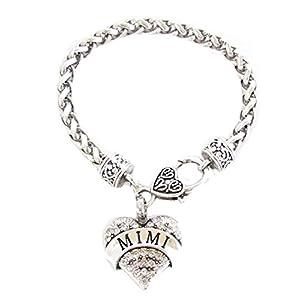 """Nana, """"Mimi Grandma, in cristallo, a forma di cuore, in argento, per gioielli con moschettone"""