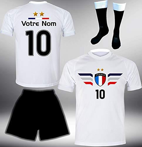 ElevenSports Frankreich Trikot Set 2018 mit Hose & Stutzen GRATIS Wunschname + Nummer im EM WM Weiss Typ #FR4ths - Geschenke für Kinder Erw. Jungen Baby Fußball T-Shirt Bedrucken