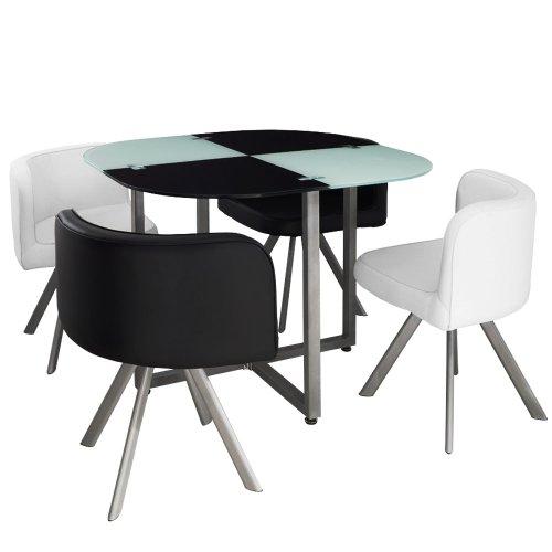 Menzzo P803 Contemporain Mosaic 90 Table et Chaises Métal/Verre Noir/Blanc 90 x 90 x 75 cm