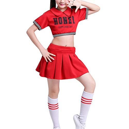 Rock Mädchen Kostüm Schule - Daytwork Cheerleader Kinderkostüm Karneval Fasching - Kostüm Schule Mädchen Uniform Junge Performance Street Dance Top + Rock oder Kurze Hosen