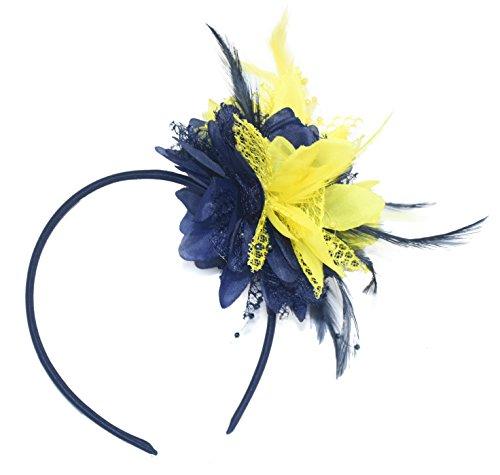 Tocado azul marino y amarillo en diadema para bodas Ascot