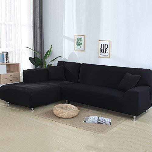 Htdirect divano covers for a forma di l 2pcs poliestere tessuto stretch slipcovers + 2pcs federa per divano componibile divano angolare con antiscivolo antiscivolo black 90inch + 118inch