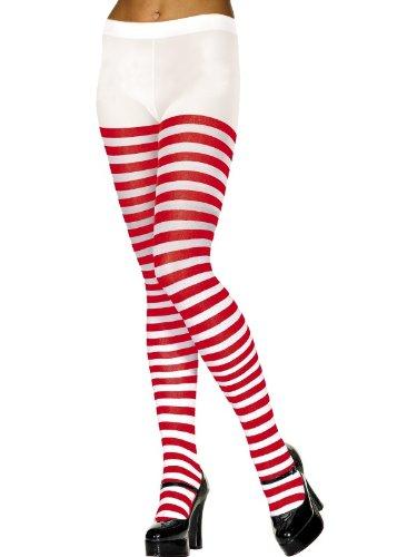 Gestreifte Strumpfhosen für Damen (Candy Cane Kostüm Für Erwachsene)