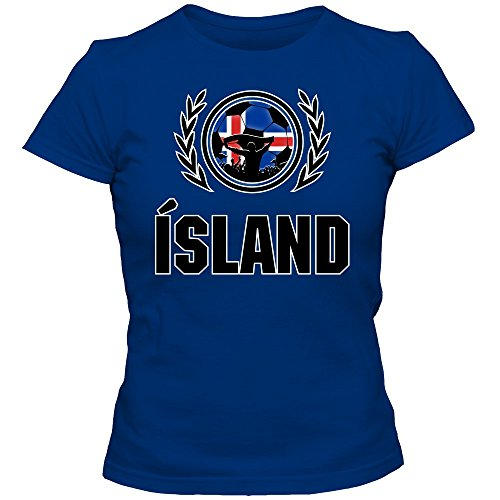 Island WM 2018#2 T-Shirt Fußball Damen Strákarnir okkar Trikot Nationalmannschaft, Farbe:Blau (Royalblue L191);Größe:M