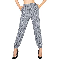 Vemubapis Pantalones A Cuadros Cintura Elástica Casual Bolsillos Laterales Pantalones Harem para Mujer Grey L