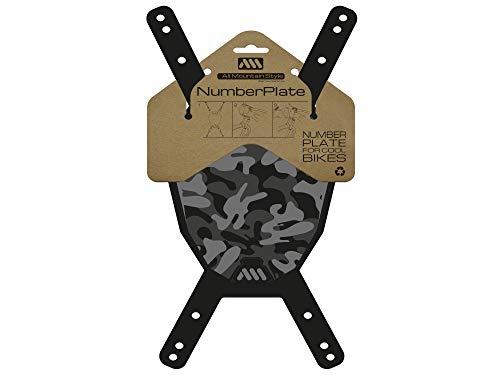 All Mountain Style número AMS Plaque de numéro (VTT), Camo/Noir Adulte Unisexe, Taille unique