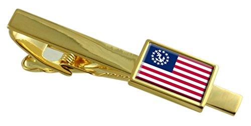 Yachtcharter, der Stern der USA-Flagge Gold Krawattenklammer graviert Personalisierte