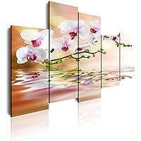 DEKOARTE 71 - Cuadro moderno en lienzo de 5 piezas, naturaleza orquídeas blancas con reflejo en agua, 150x100cm