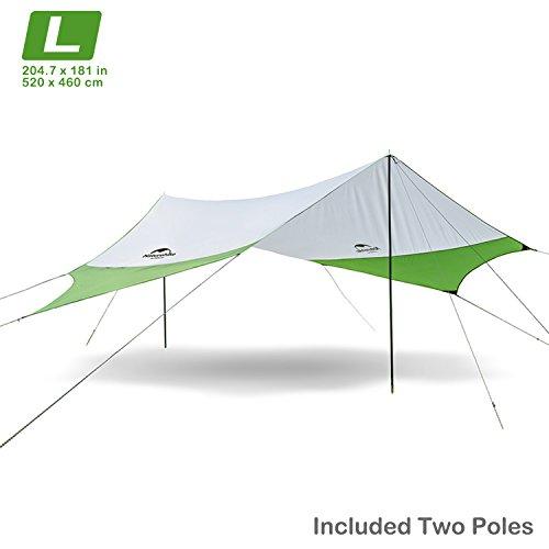 Naturehike camping Carpa tienda de campaña para la playa sombra sol refugio toldo toldo con postes, ligero portátil impermeable para senderismo pesca Picnic (Verde-L)