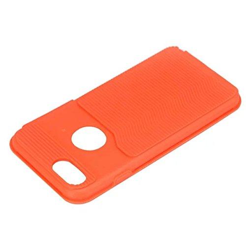 iPhone 7 hülle, Lantier 2 in 1 [weicher harter Tough Case][Anti Skid][Thin Slim Fit][Stoßdämpfung] Wellenmuster Rüstung Schutzhülle für Apple iPhone 7 (4,7 Zoll) golden Rose Golden + Orange