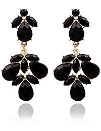 Pendientes Oro Yazilind Encanto plateado Negro lágrima de cristal cuelgan de la Mujer