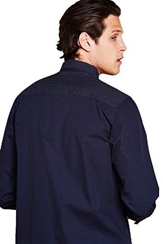 Herren Brave Soul Ging Hemd Designer Langärmlig Gepunktet Kragen Geknöpft  Top Marineblau - Blau