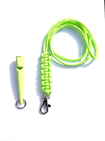Acme 210.5 Dog Whistle & Lanyard with Cobra Stitch Knot 3mm in Lime Green