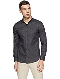 United Colors Of Benetton Men's Printed Slim Fit Casual Shirt (18P5PS16U008I_Navy Blue_XL)