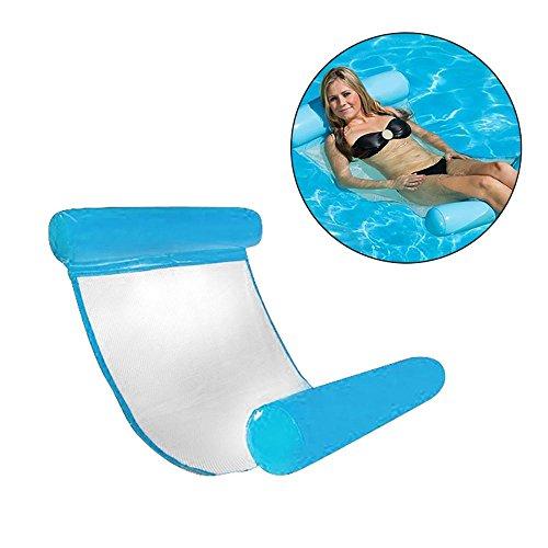 Aolvo Pool Hängematte Float Lounge bequem Pool Liege Stuhl Water Hängematte aufblasbare Schwimmende Bett, blau, Normal