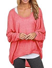 La Mujer Casual Loose Scoop Neck Long Sleeve Jumper Suéter Holgado Blusas Camisa Tops