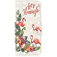 Coopay Schutzhülle für Huawei P20,Hülle Glänzend 3D Fläche Ledertasche Brieftasche Wallet Case Cover Handytasche Handyhüllen,Standfunktion-Kartenfächer Lederhülle,Flamingos Wort Blumen