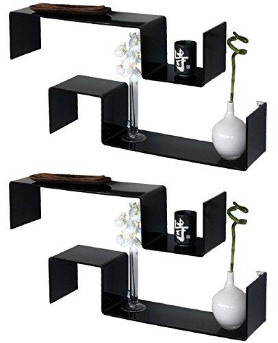 3 + 1 étagère hommage Design Noir brillant Salon Chambre 4 étagères Gisy N