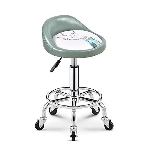 Byx Drehhocker auf Pu-Leder Drehbarer Rollstuhl Höhenverstellbarer Hydraulischer Hocker Grün Drehbarer Schreibtischhocker Weiße Sitzfläche Elchmuster mit Komfortabler Kleiner Rückenlehne (38 cm)