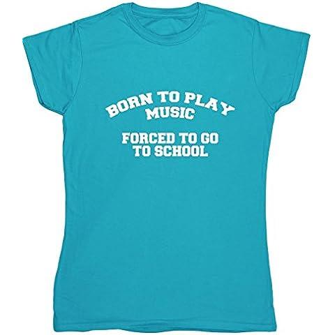 HippoWarehouse Born to play music Be A scuola con t_da donna, a maniche corte