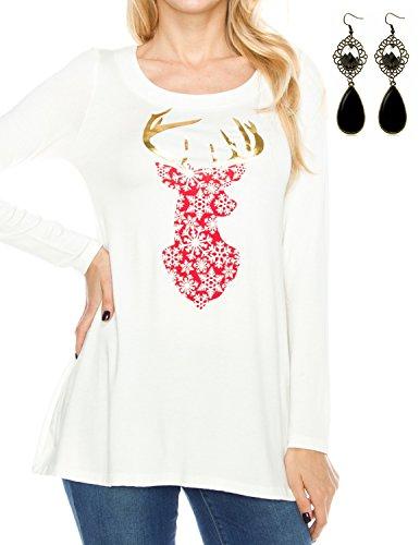 Sitengle Donna Camicetta Magliette a Maniche Lunghe Bluse Natale Alce Stampato Tunica T-shirt Maglia Lunga Camicia