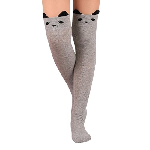 Hffan Womens niedliche Katze Karikatur Socken lange Socken über dem Knie Hohe Socke College Stil Damen Halterlose Socken Strumpfhose Kawaii High Socks (Grau)