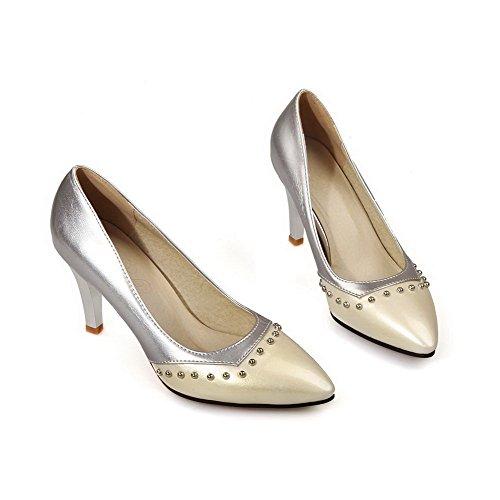 AllhqFashion Femme Matière Souple Pointu Tire Couleurs Mélangées Chaussures Légeres Beige