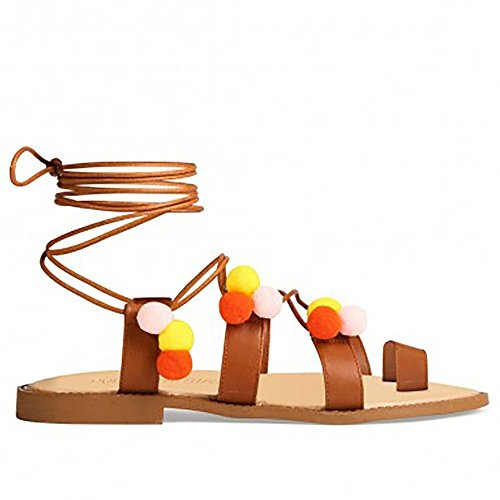 Tan Multi Couleur Pom Poms Lace Wrap Ups Gladiateurs Peep Toes Sandales Lanières Plates Tan Multi Couleur