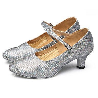 Silence @ pour femme Chaussures de danse latine/danse Sneakers Paillettes étincelante/paillettes/synthétique de Cuba Heelblack/rouge/argenté/ doré