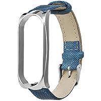 Cooljun Bracelet pour Xiaomi Mi Band 3, en Denim avec étui en métal et Bracelet de Montre