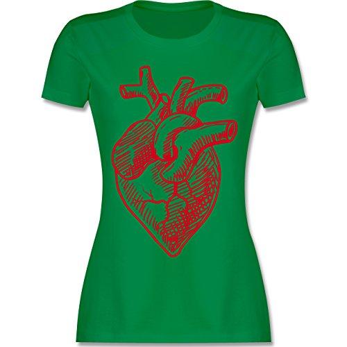 Statement Shirts - Organisches Herz Motiv - tailliertes Premium T-Shirt mit Rundhalsausschnitt für Damen Grün