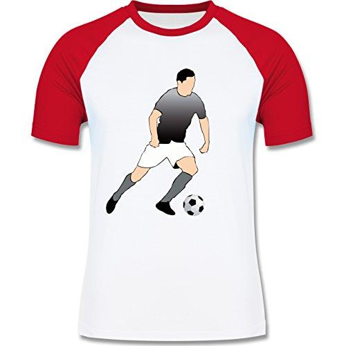 Fußball - Fußballspieler Stürmer Ball Sprint - zweifarbiges Baseballshirt für Männer Weiß/Rot